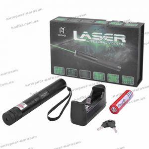 Фонарь-лазер зеленый JD-303, 1x18650, ЗУ 220V, ключ блокировки, ремешок на руку, комплект (код 12863)