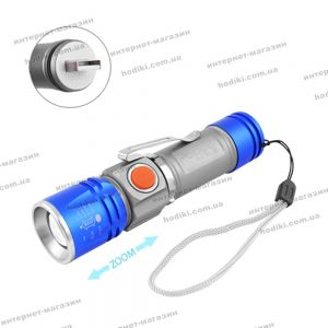 Фонарь Police BL-517-XPE, встроенный аккумулятор, ЗУ USB, zoom, зажим, ремешок на руку (код 12926)