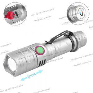 Фонарь Police BL-8456-T6+1red+1blue, 1x18650, ЗУ micro USB, zoom, зажим, магнит, сирена, комплект (код 12929)