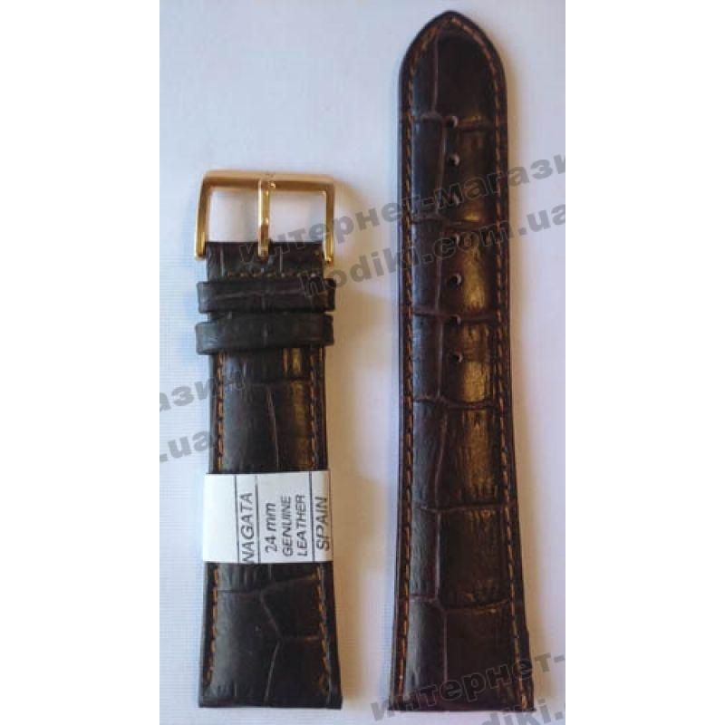Ремешок для часов Nagata 24мм темно-коричневый (код 3132)