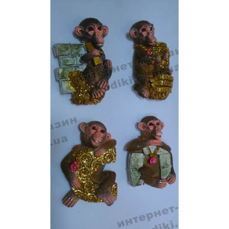 Магниты на холодильник Обезьянки №М-018 (код 3425)